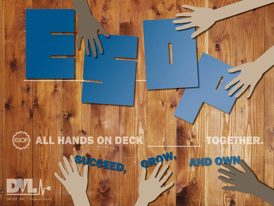 ESOP Poster displaying employee ownership values.
