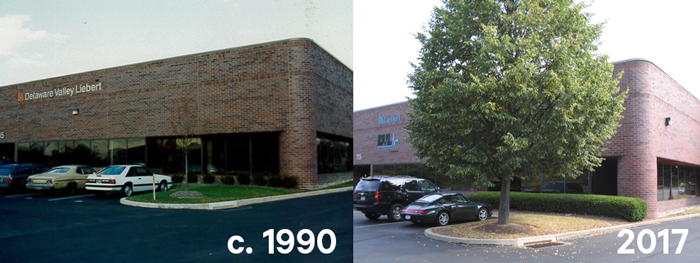 Then and Now picture of DVL Office in Bristol PA.