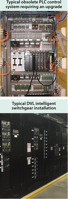 picture of Typical obsolete PLC control system requiring an upgrade and Typical DVL intelligent switchgear installation