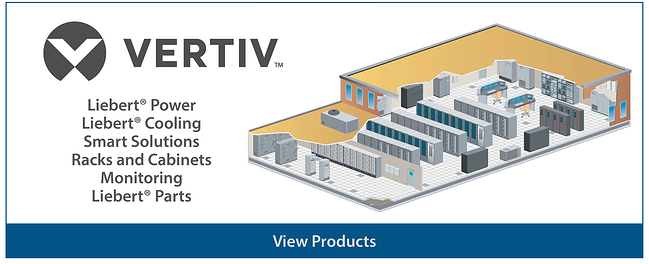 Vertiv products including Liebert, facilities racks, and monitoring
